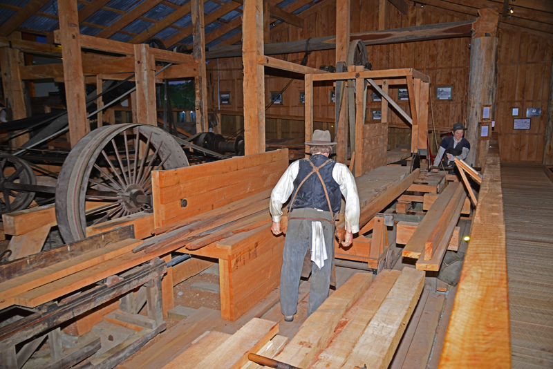 Museum exhibit of saw milling